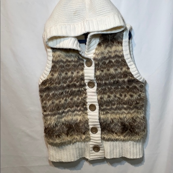 It's Our Time Other - Is Our Time Knit Hoodie Front Faux Fur Vest, L